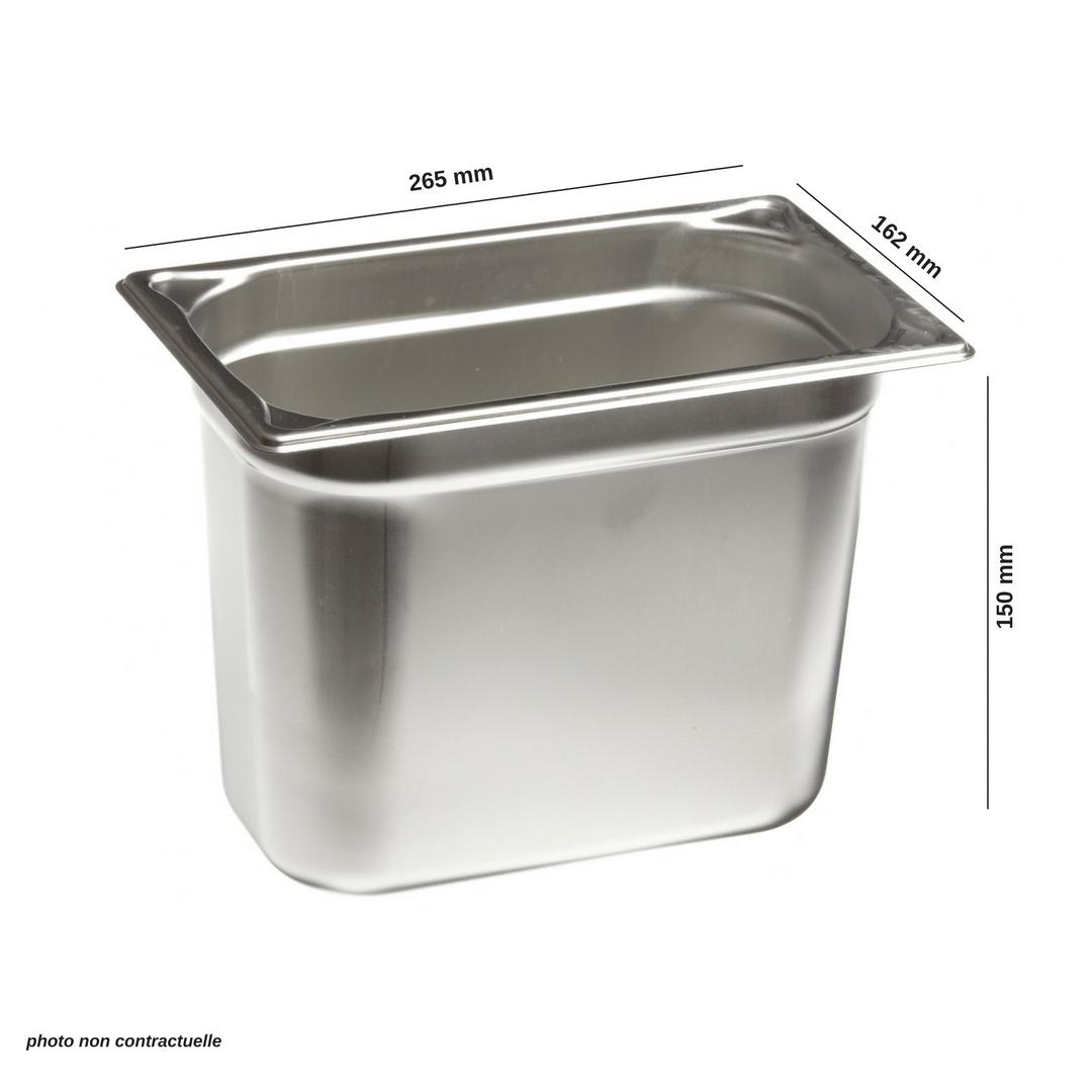 Bac en inox premium gn 1 4 265x162x150 mm mjpro for Bacs inox restauration