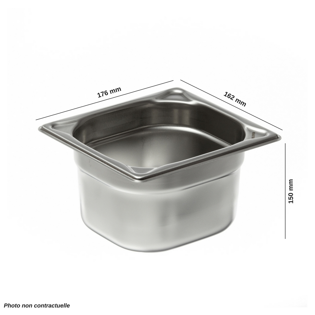 Bac en inox premium gn 1 6 profondeur 150 mm mjpro for Bacs inox restauration