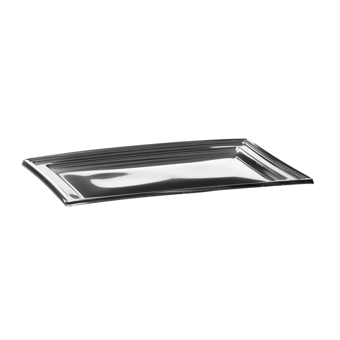 Plat traiteur APET argent - Rectangle - 46 x 30.5 cm - PLC450AR