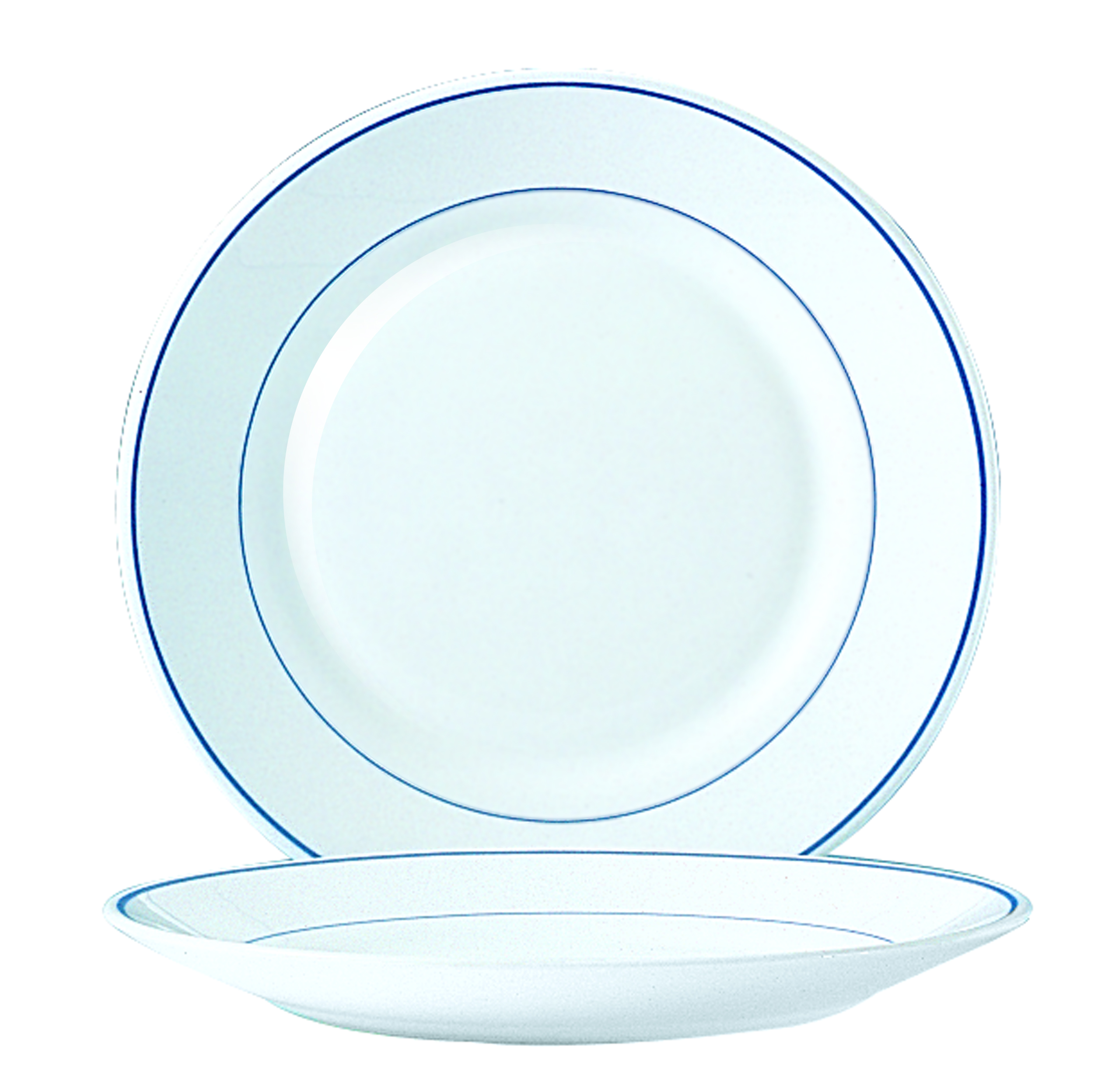 Assiette plate diam. 254 mm filet bleu
